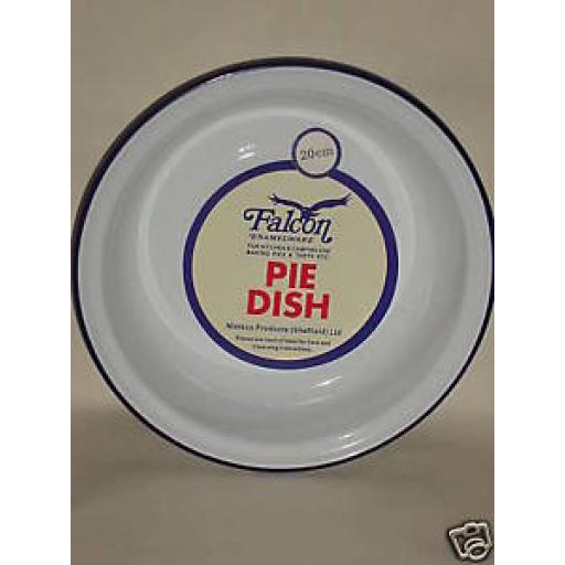New Falcon White Enamel Round Pie Baking Dish Tin 20cm