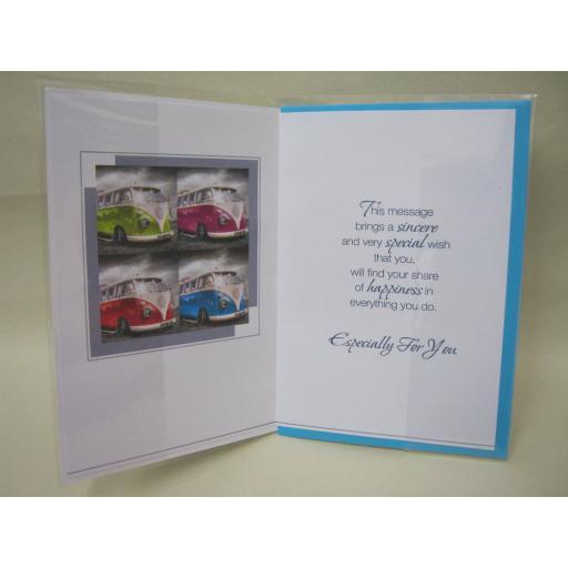 New VW Volkswagen Campervan Splitty Birthday Greetings Card