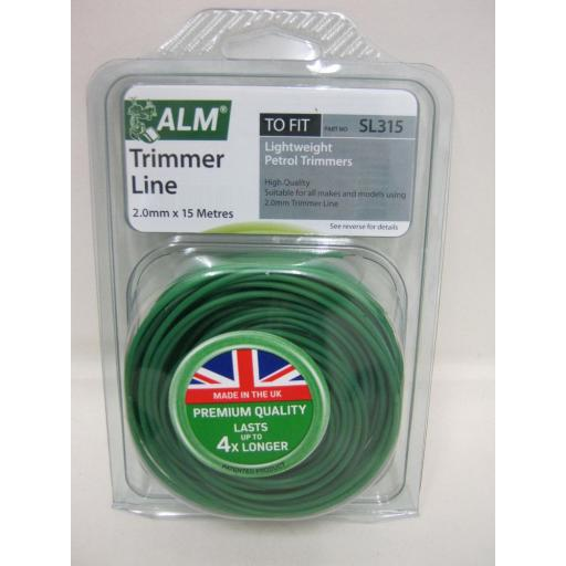 New ALM Light Duty Weight Petrol Trimmer Cutting Line SL315 15m 2.00MM Green