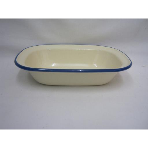 New Victor Cream Enamel Oblong Pie Baking Dish Tin With Blue Trim 20cm EN232BL