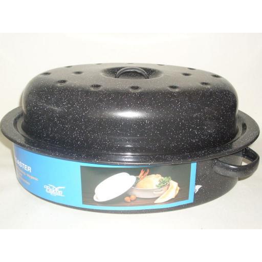 New Falcon Enamel Oval Roaster Roasting Dish Casserole Black 33.5cm