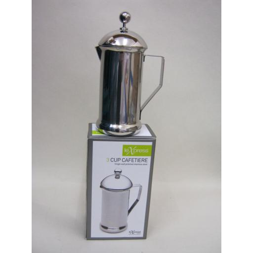 New Le Xpress Coffee Cafetiere Polished Stainless Steel 3 Cup
