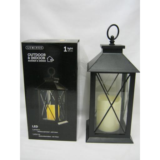 New Lumineo Battery Operated LED Lantern With Timer Black 482389