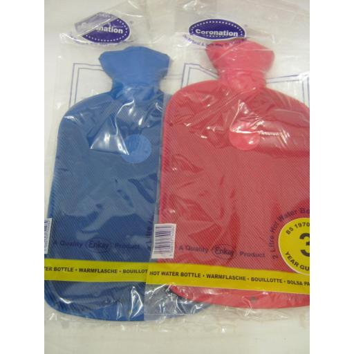 New Coronation Ribbed 1 Side Rubber Hot Water Bottle 2L 3 Yr Guarantee Assorted