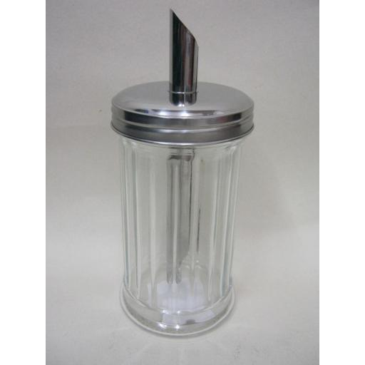 New Sunnex Glass Retro Sugar Cannister Dispenser Pourer Shaker Metal lid
