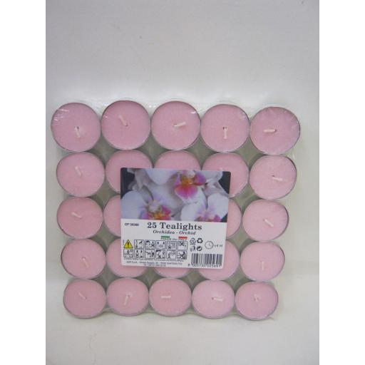 New Tealights Candles Fragranced Tea Lights Pk 25 Orchid