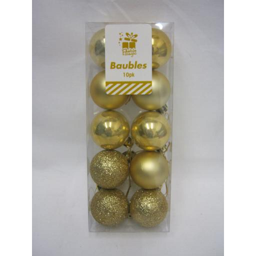 New Christmas Tree Decoration Mini Baubles Shatterproof Pk 10 x 40mm Gold