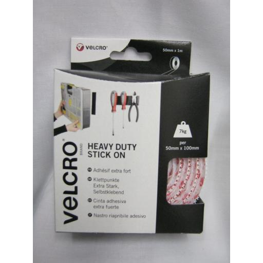New Velcro Heavy Duty Stick On Tape 50mm x 1m White 60242