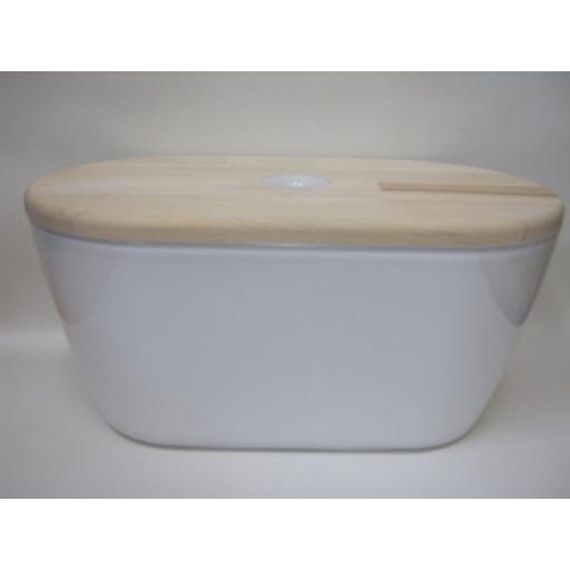 New Omada Woody Bread Bin White Beech Reversible Chopping Board Lid M3900BI