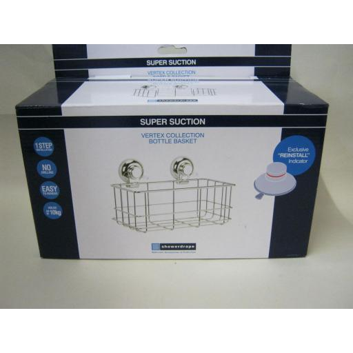 New Vertex Showerdrape Super Suction Shower Bath Caddy Bottle Basket