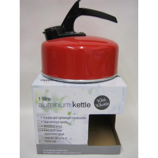 New Small Aluminium Camping Stove Whistling Kettle Gas Electric Hob 1Litre Red