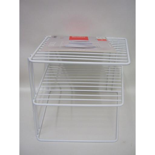 New Metaltex Silos Corner Plate Rack Holder Shelf White Plastic Coated 364202