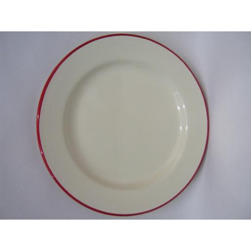 New Victor Cream Enamel Round Pie Dinner Plate Baking Dish Tin With Red Trim 22c