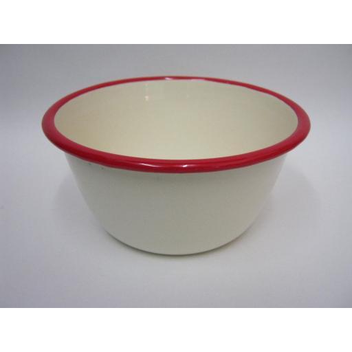 "New Victor Cream Enamel Pudding Basin With Red Trim 14cm 5 1/2"" EN420R"
