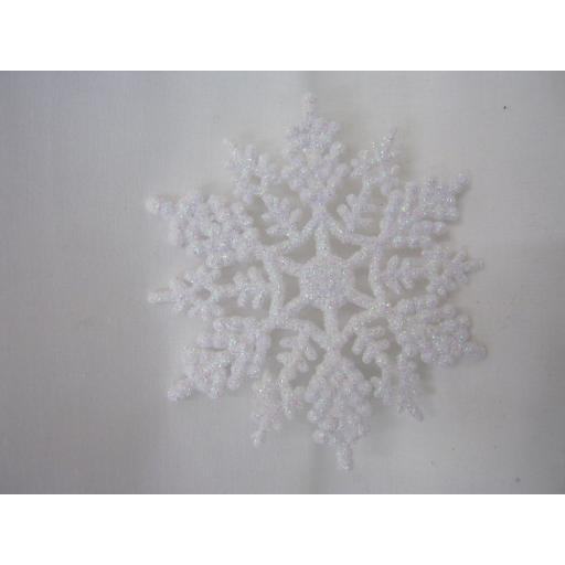 New Premier Christmas Tree Decorations Glitter Snowflakes 10cm Pk10 White
