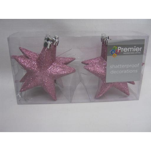 New Premier Christmas Tree Decoration Stars Glitter Pink TD126378DUP 100mm Pk6