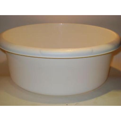 New Whitefurze Cream Round Plastic Washing Up Bowl 34cm Large