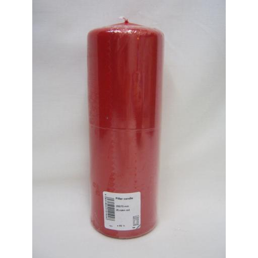 "New Ral Large Pillar Church Candle 8"" 20cm x 7cm Red"