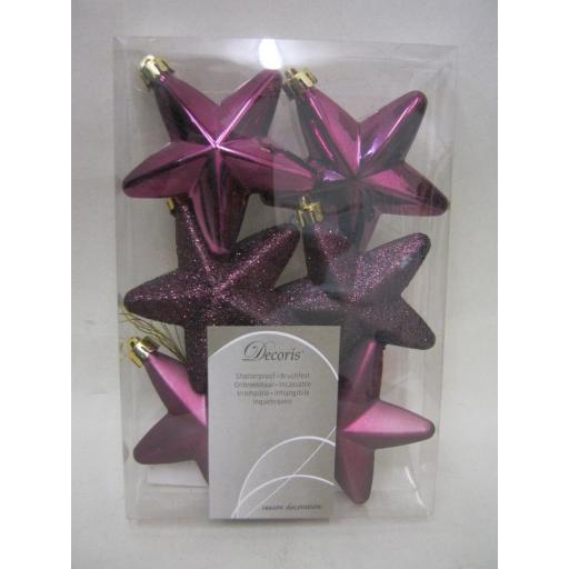 New Kaemingk Christmas Tree Decoration Glitter Stars Fig 75mm Pk6 027872