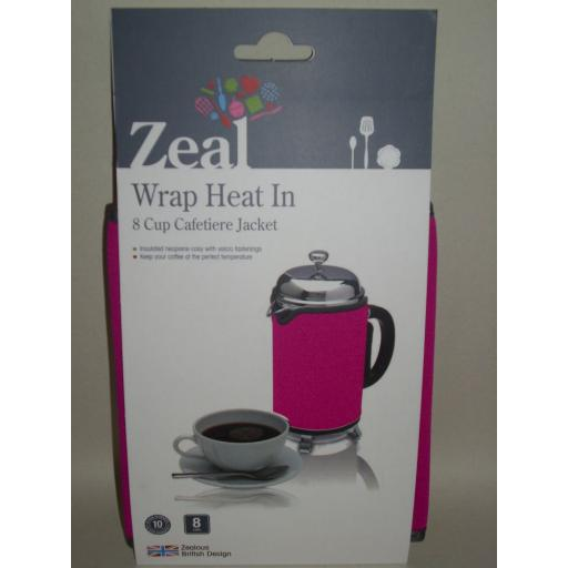 New Zeal Cafetiere Insulated Thermal Heat Wrap Jacket 8 Cup Pink C124 Damaged