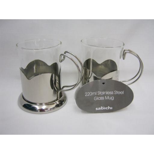 New Sabichi Stainless Steel Glass Mug Tea Coffee Latte 220ml PK2