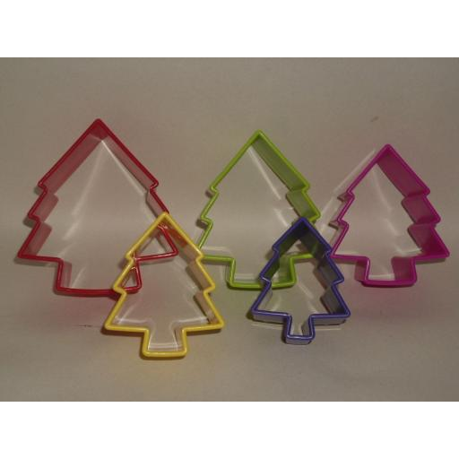 New Zeal Biscuit Pastry Cookie Cutters Plastic Set Of 5 Christmas Tree N212