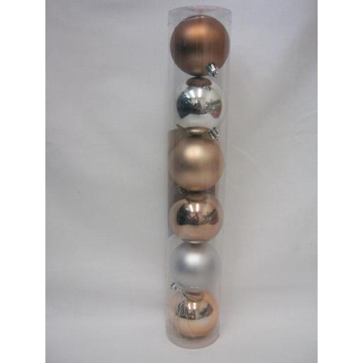 New Christmas Tree Decoration Baubles Shatterproof Pk6 468506 60mm Copper/Silver