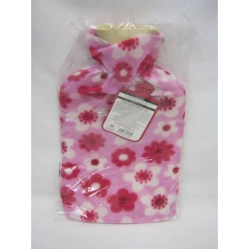 New Covered Hot Water 2Ltr Rubber Bottle Pink Fleece Cover
