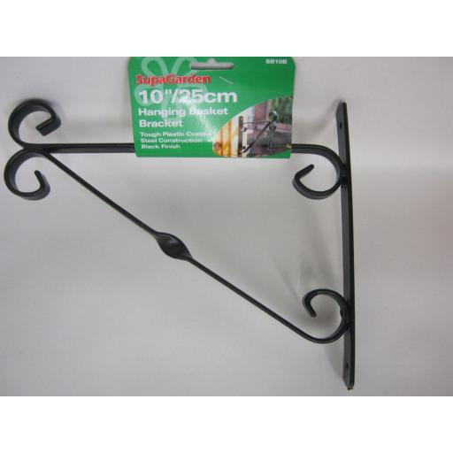 "New Supa Garden Hanging Basket Bracket 10"" 25cm Black SB10B"