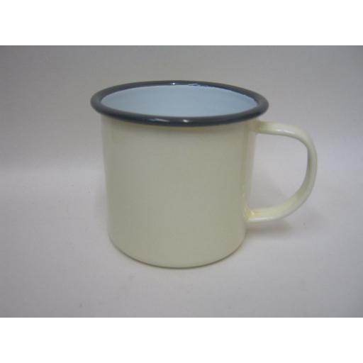 New Falcon Enamel Mug Beaker Cup Tea Coffee Camping 8cm Cream