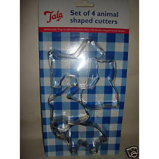 New Tala Stainless Steel Set Of 4 Animal Biscuit Cutters 9531