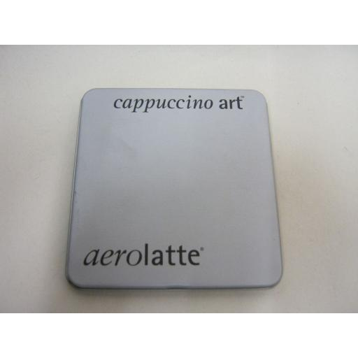 New Aerolatte Cappuccino Art Stencils Coffee Hot Chocolate Cakes Set 6 Gift Tin