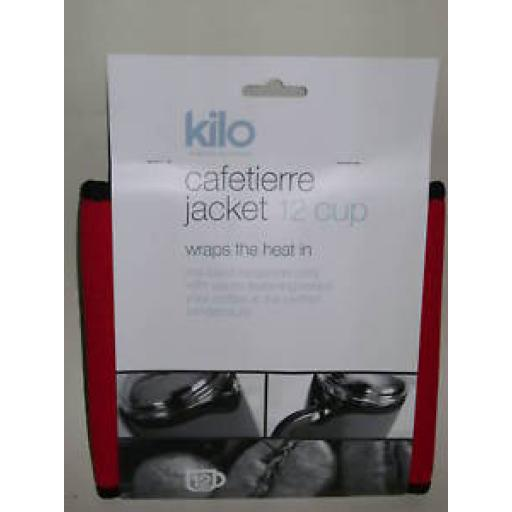 New Kilo Cafetiere Insulated Thermal Heat Wrap Jacket 12 Cup Red
