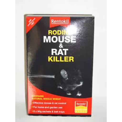 New Rentokil Mouse And Rat Killer Bait Rodine 6 x 50g poison