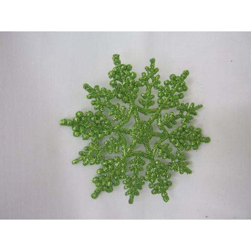 New Premier Christmas Tree Decorations Glitter Snowflakes 10cm Pk10 Green