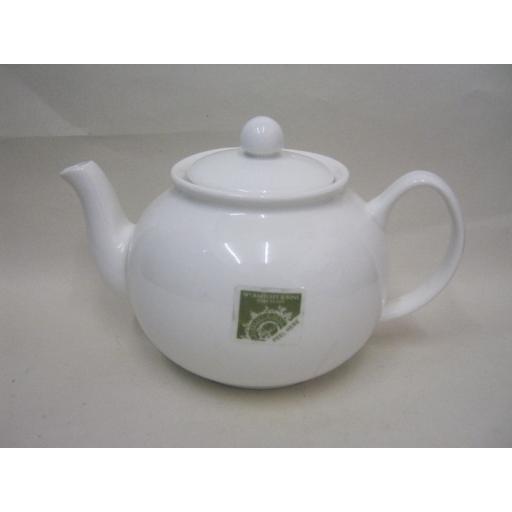 New Wm Bartleet White Porcelain Teapot T264 1.5litre Slight Damage