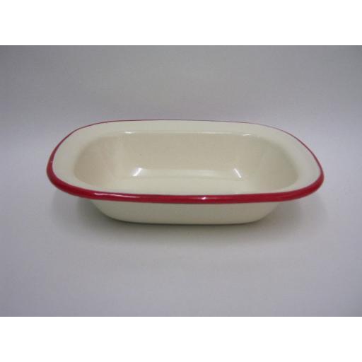 New Victor Cream Enamel Oblong Pie Baking Dish Tin With Red Trim 18cm EN231R