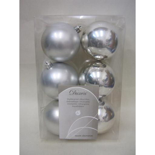 New Kaemingk Christmas Tree Decoration Baubles Shatterproof Pk 6 Silver 722377