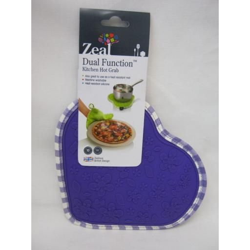 New CKS Zeal Dual Function Silicone Kitchen Hot Grab Mat Heart V110 Purple