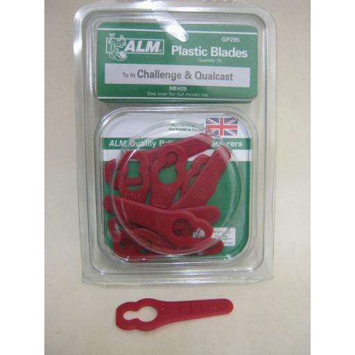 New ALM Plastic Blades For Challenge Lawnmower MEH29 GP295 Pk10