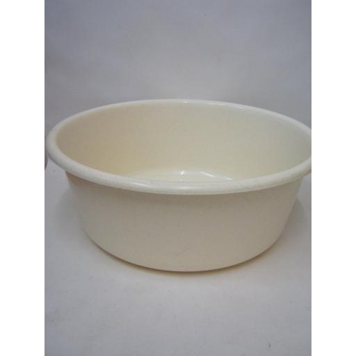 "New Lucy Medium Round Plastic Washing Up Bowl 34cm 13.5"" Beige Slight Seconds"