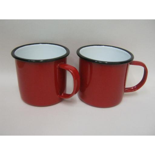 New Falcon Enamel Mug Beaker Cup Tea Coffee Camping 8cm Red Pk 2