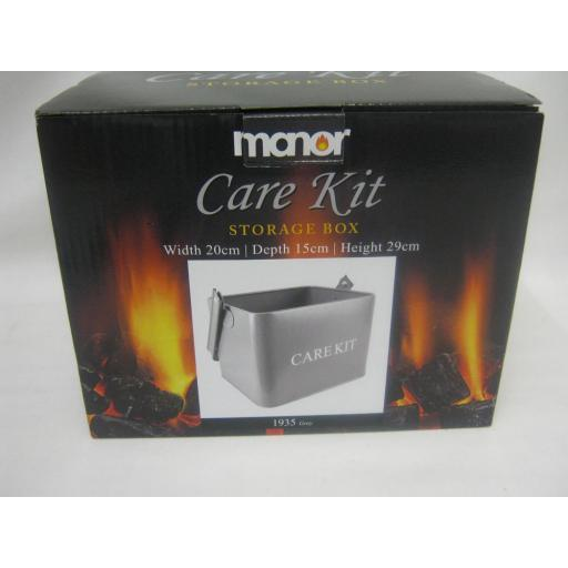 New Manor Metal Fireside Fireplace Cleaning Care Kit Storage Box Grey 1935