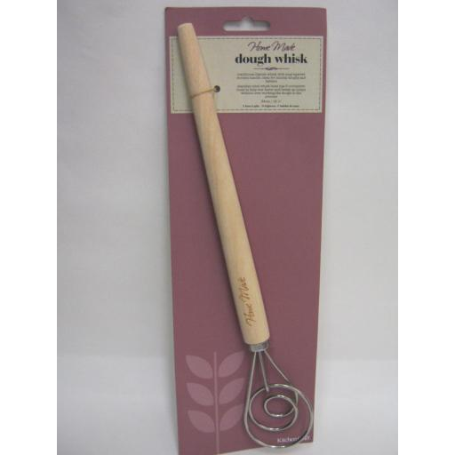 New Kitchen Craft Home Made Stainless Steel Wood Handle Dough Whisk KCHMWHISK