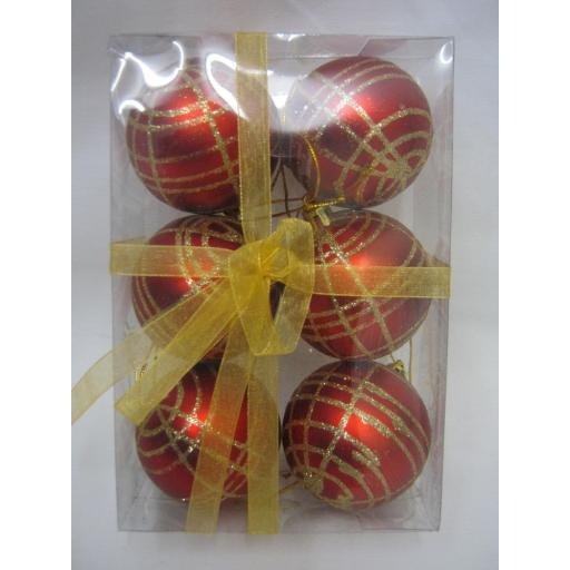 New Christmas Tree Decoration Baubles Shatterproof Pk 6 Red Check Glitter 55mm