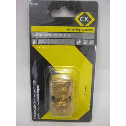 """New CK Watering Systems Automatic Water Stop Connector Brass 1/2"""" G7913"""
