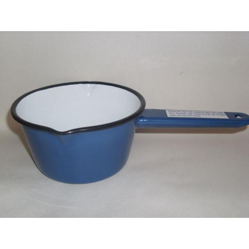 New Falcon Enamel Milk Pan 14cm Saucepan Blue