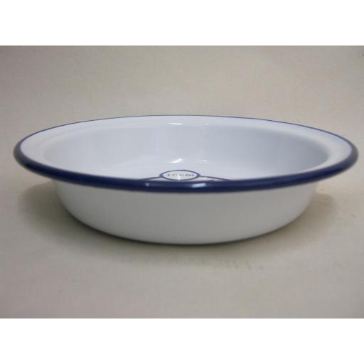 New Falcon Enamel Round White Pie Baking Dish Tin With Blue Trim 16cm