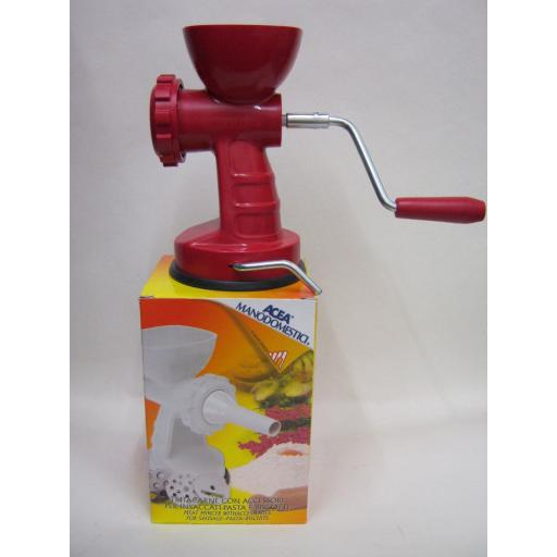 New Acea Plastic Red Meat Mincer Inc Sausage Attachement And Pasta Disc