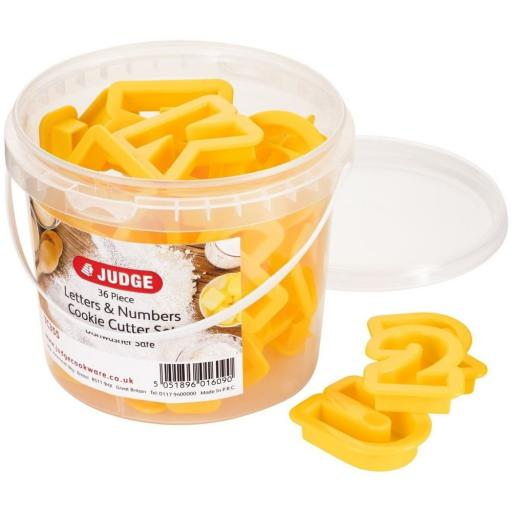New Judge 36 Piece Coloured Cookie Cutter, Letters And Numbers, Yellow TC355